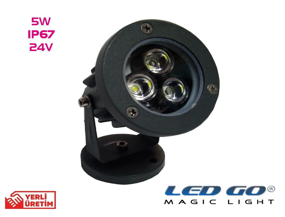 Led Go®MPS-05-24V, Mini Led Spot 5w,24V AC-DC,IP67