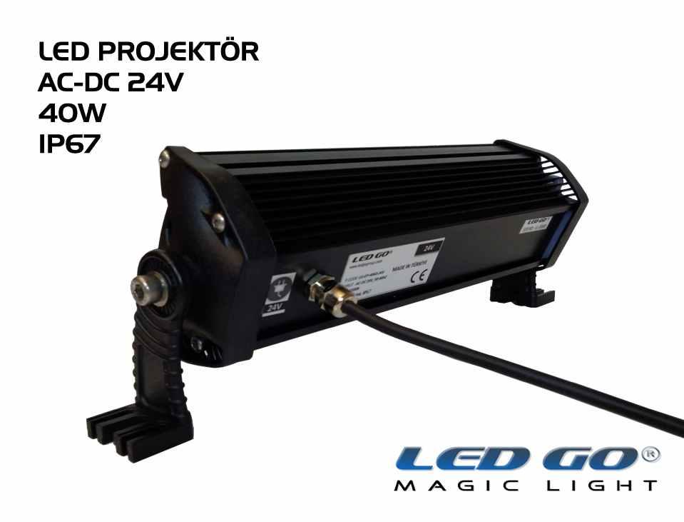 Led Go®EP-40, Elit Serisi SMDLED Projektör, 40W, 24V AC-DC, IP67