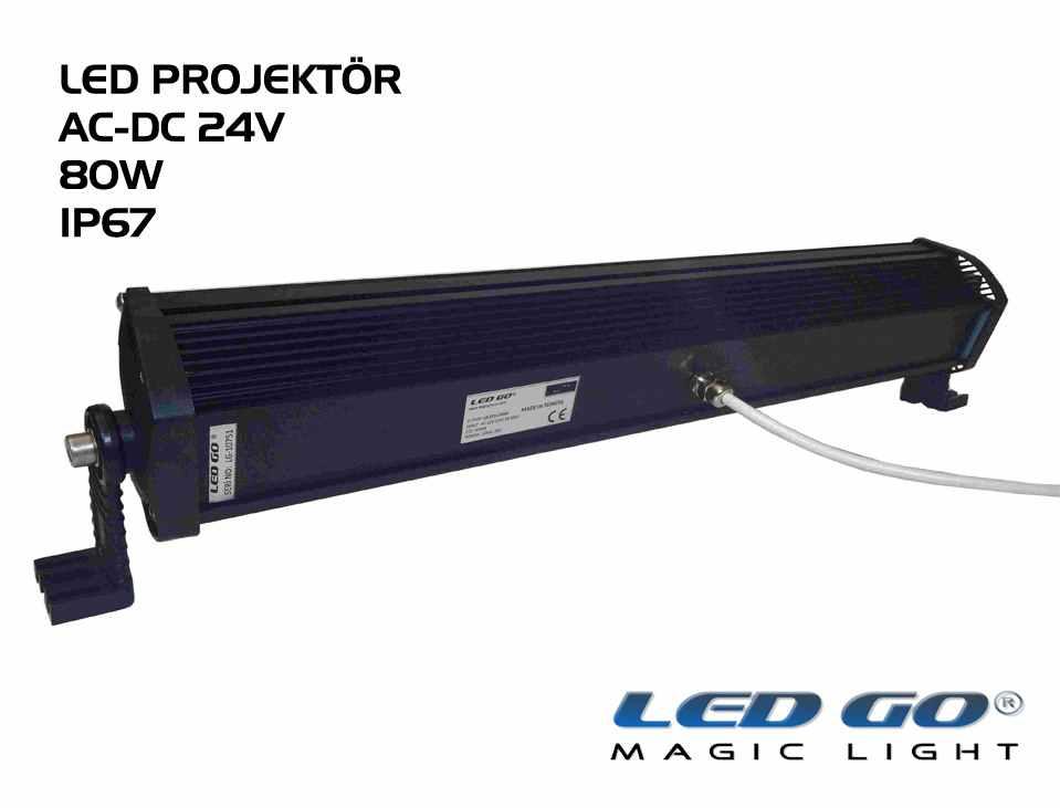 Led Go®EP-80, Elit Serisi SMDLED Projektör, 80W, 24V AC-DC, IP67