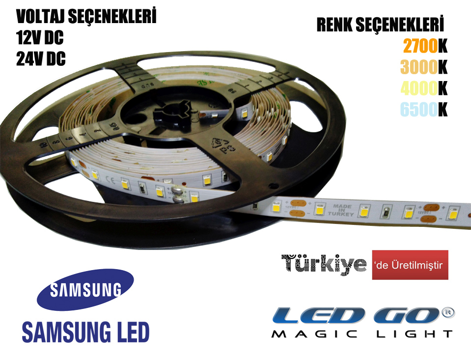 Samsung Şerit LED, Yerli Üretim,12VDC, 24VDC, IP20,5m Paket